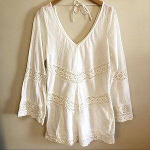 Free People | Swiss Dot and Crochet Tunic- Size L